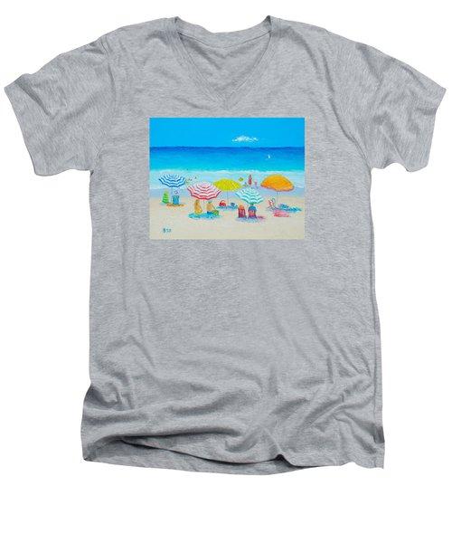 Beach Painting - Catching The Breeze Men's V-Neck T-Shirt by Jan Matson