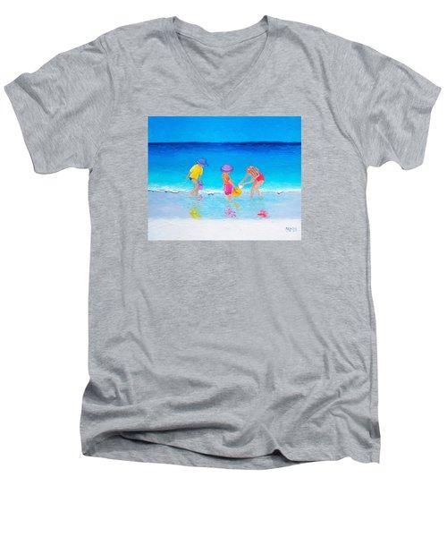 Beach Painting - Water Play  Men's V-Neck T-Shirt by Jan Matson