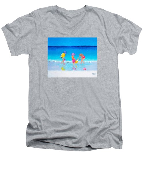 Beach Painting - Water Play  Men's V-Neck T-Shirt