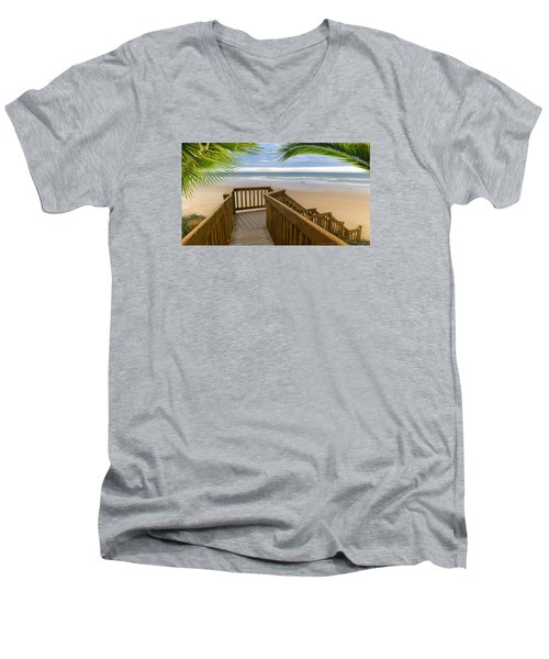 Men's V-Neck T-Shirt featuring the photograph Beach Paradise 001 by Kevin Chippindall