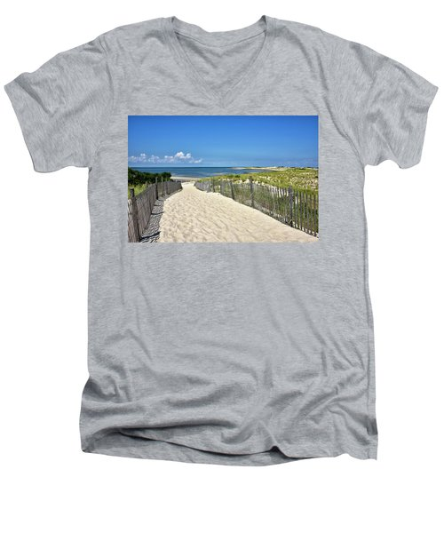Beach Path At Cape Henlopen State Park - The Point - Delaware Men's V-Neck T-Shirt by Brendan Reals
