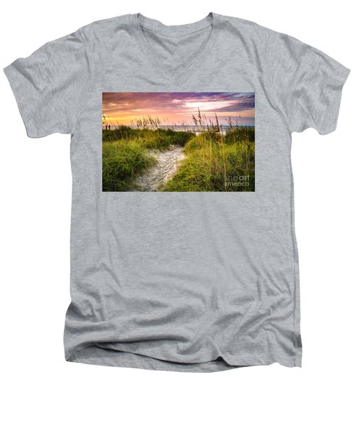 Beach Path Sunrise Men's V-Neck T-Shirt by David Smith