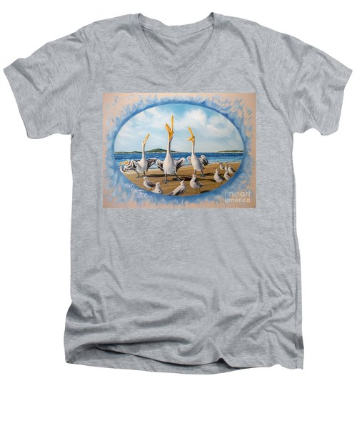 Men's V-Neck T-Shirt featuring the painting Beach Platoon by Sigrid Tune