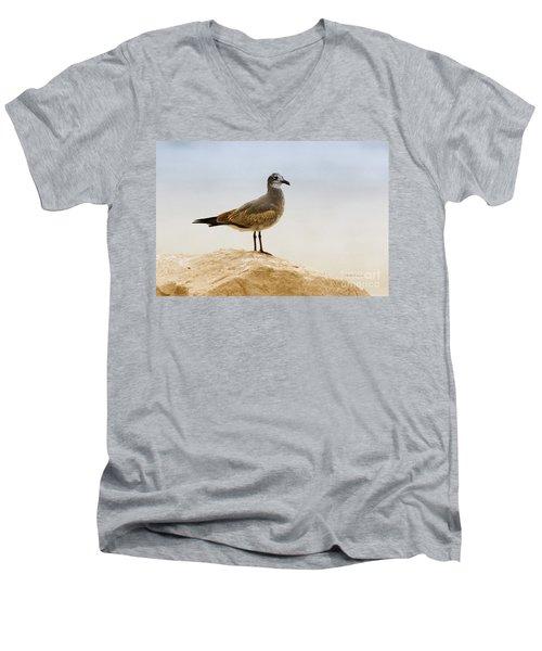 Men's V-Neck T-Shirt featuring the photograph Beach Pose by Deborah Benoit
