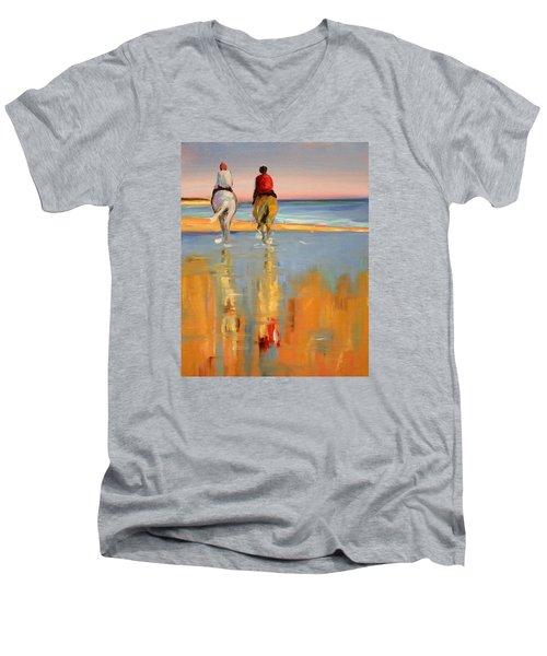 Beach Riders Men's V-Neck T-Shirt by Trina Teele