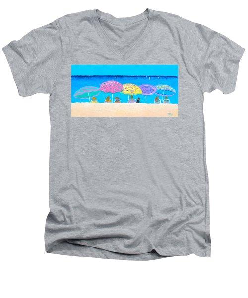 Beach Sands Perfect Tans Men's V-Neck T-Shirt by Jan Matson