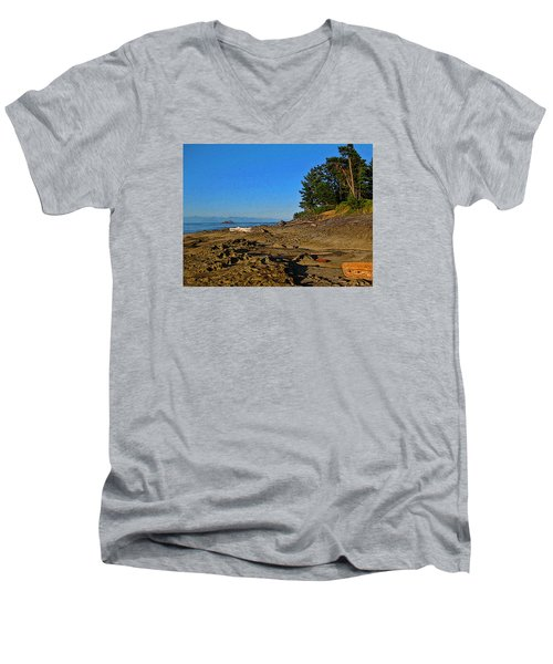 Beach Scene, Berry Point, Gabriola, Bc Men's V-Neck T-Shirt by Anne Havard