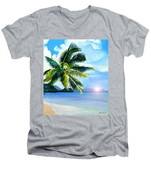Beach Scene Men's V-Neck T-Shirt by Curtiss Shaffer