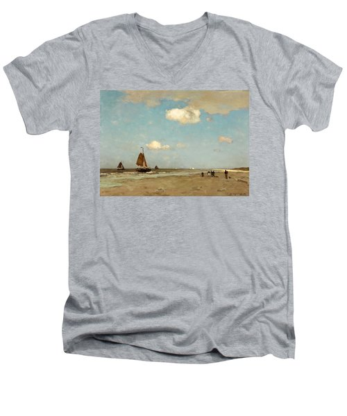 Men's V-Neck T-Shirt featuring the painting Beach Scene by Jan Hendrik Weissenbruch
