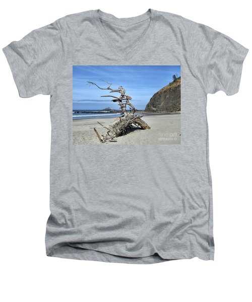Men's V-Neck T-Shirt featuring the photograph Beach Sculpture by Peggy Hughes