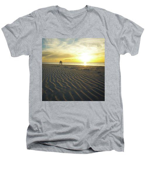 Beach Silhouettes And Sand Ripples At Sunset Men's V-Neck T-Shirt