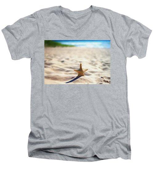 Beach Starfish Wood Texture Men's V-Neck T-Shirt by Dan Sproul