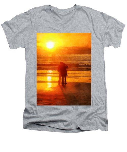 Beach Sunrise Love Men's V-Neck T-Shirt by Francesa Miller