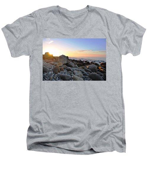 Beach Sunrise Over Rocks Men's V-Neck T-Shirt by Matt Harang