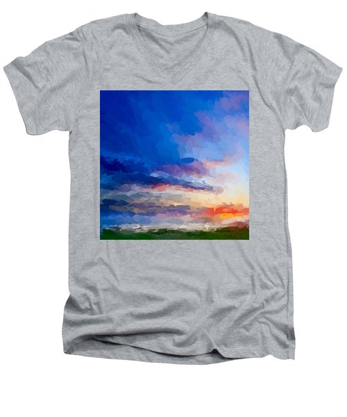 Beach Sunset Men's V-Neck T-Shirt by Anthony Fishburne