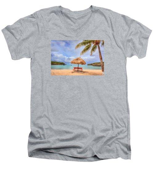 Beach Time Men's V-Neck T-Shirt by Nadia Sanowar