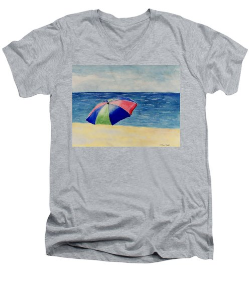 Men's V-Neck T-Shirt featuring the painting Beach Umbrella by Jamie Frier