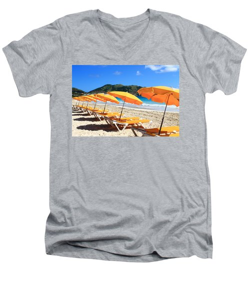 Beach Umbrellas Men's V-Neck T-Shirt