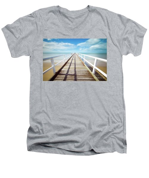 Men's V-Neck T-Shirt featuring the photograph Beach Walk by MGL Meiklejohn Graphics Licensing