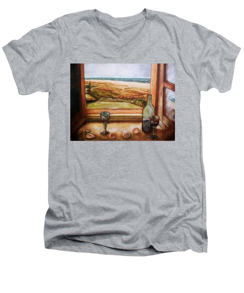 Men's V-Neck T-Shirt featuring the painting Beach Window by Winsome Gunning