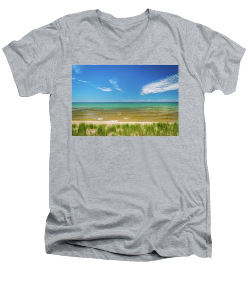Beach With Blue Skies And Cloud Men's V-Neck T-Shirt