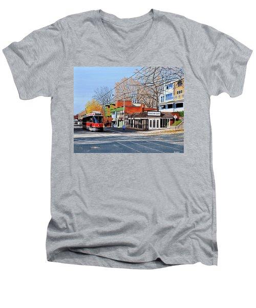Beacher Cafe Men's V-Neck T-Shirt by Kenneth M  Kirsch