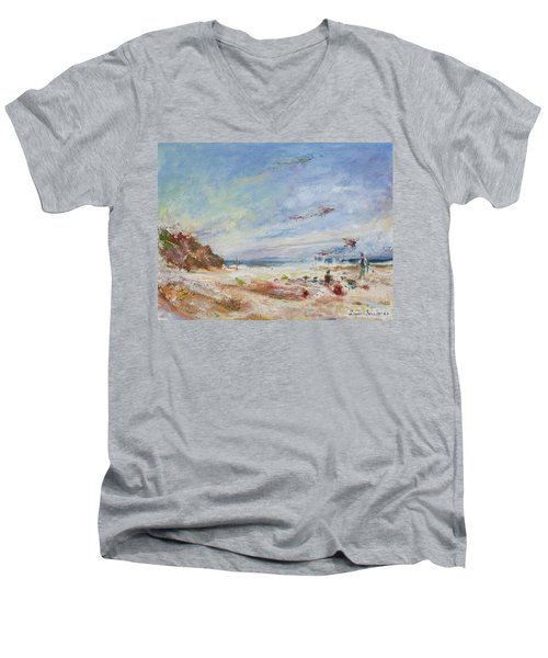 Beachy Day - Impressionist Painting - Original Contemporary Men's V-Neck T-Shirt