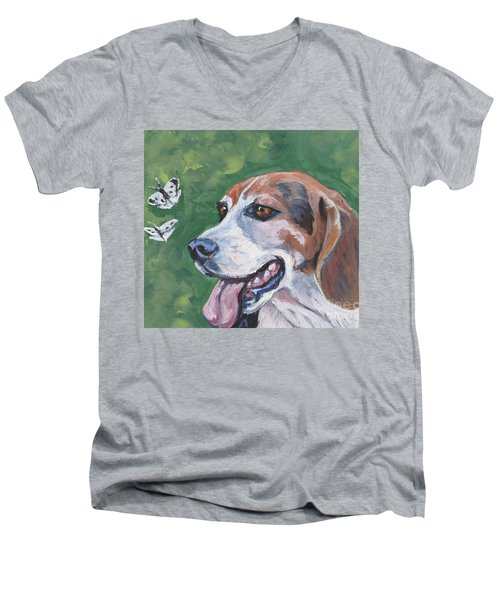 Men's V-Neck T-Shirt featuring the painting Beagle And Butterflies by Lee Ann Shepard