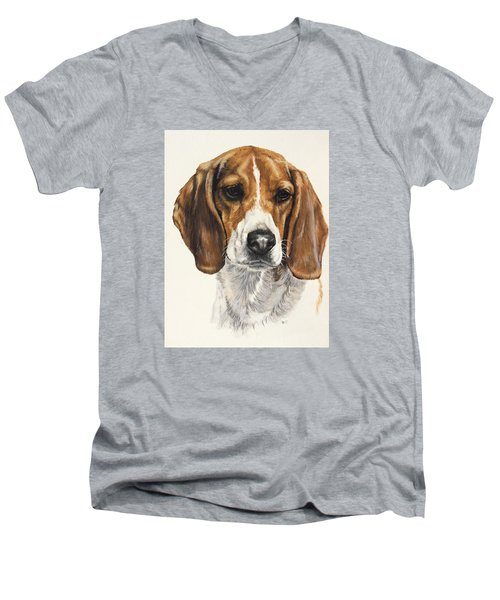 Beagle Men's V-Neck T-Shirt by Barbara Keith