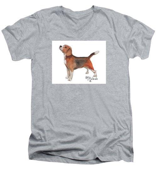 Beagle Watercolor Painting By Kmcelwaine Men's V-Neck T-Shirt