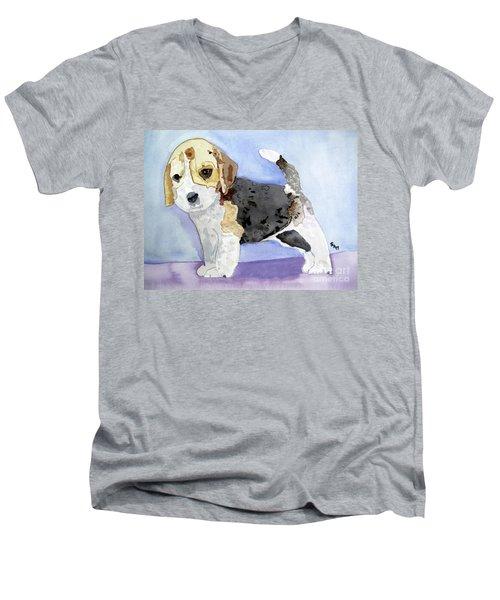 Beagle Pup Men's V-Neck T-Shirt by Sandy McIntire
