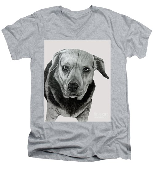 Men's V-Neck T-Shirt featuring the drawing Beagle-shepherd Mix by Terri Mills