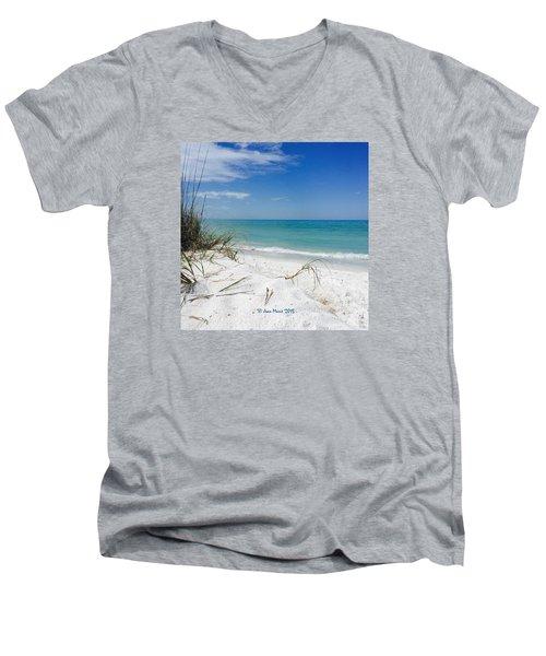 Bean Point, Anna Maria Island Men's V-Neck T-Shirt by Jean Marie Maggi