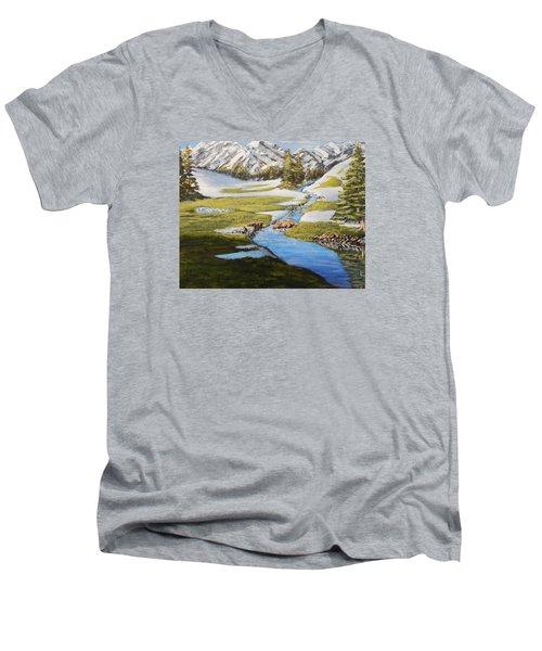 Spring In The Mountains Men's V-Neck T-Shirt