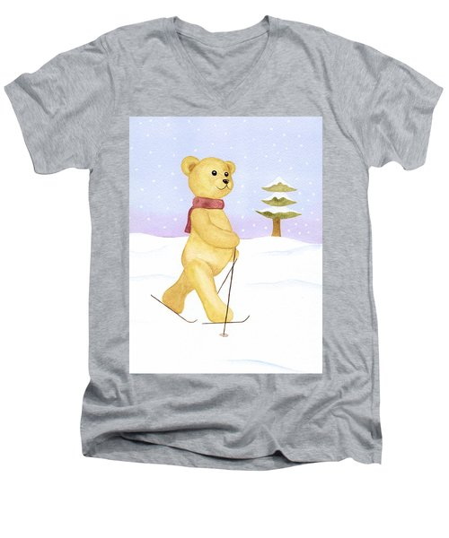 Men's V-Neck T-Shirt featuring the painting Bear by Elizabeth Lock