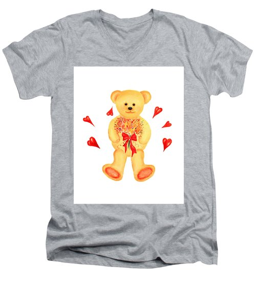 Men's V-Neck T-Shirt featuring the painting Bear In Love by Elizabeth Lock