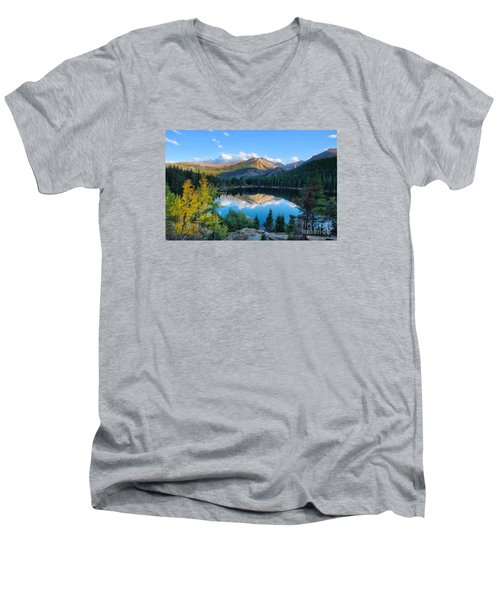 Bear Lake Reflection Men's V-Neck T-Shirt by Ronda Kimbrow