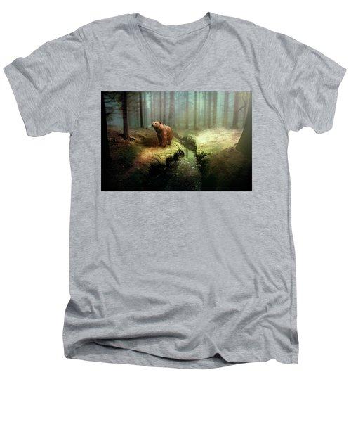 Bear Mountain Fantasy Men's V-Neck T-Shirt