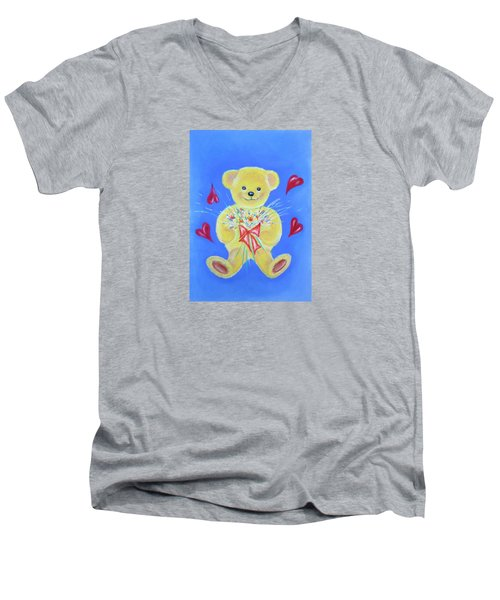 Men's V-Neck T-Shirt featuring the pastel Bear With Flowers by Elizabeth Lock