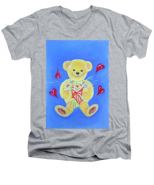 Bear With Flowers Men's V-Neck T-Shirt