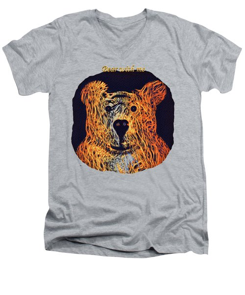 Bear With Me Men's V-Neck T-Shirt by John M Bailey