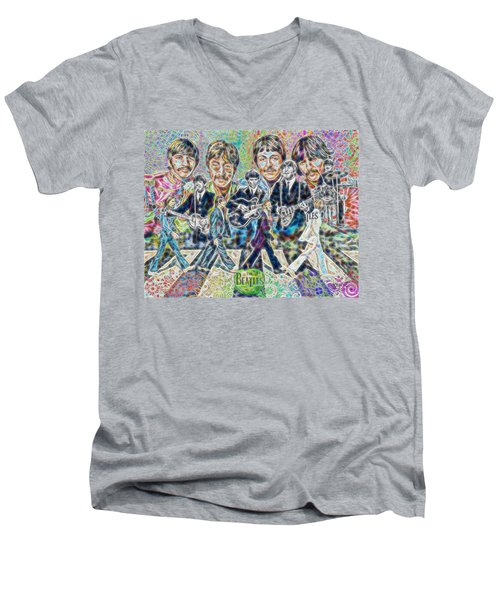 Beatles Tapestry Men's V-Neck T-Shirt