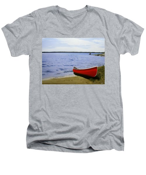 Beaultiful Red Canoe Men's V-Neck T-Shirt