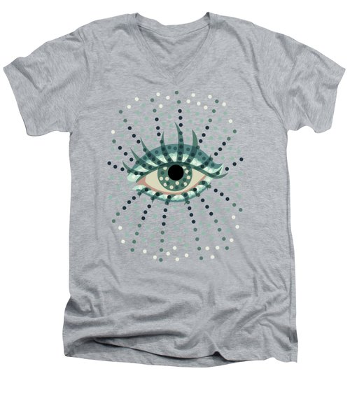 Beautiful Abstract Dotted Blue Eye Men's V-Neck T-Shirt