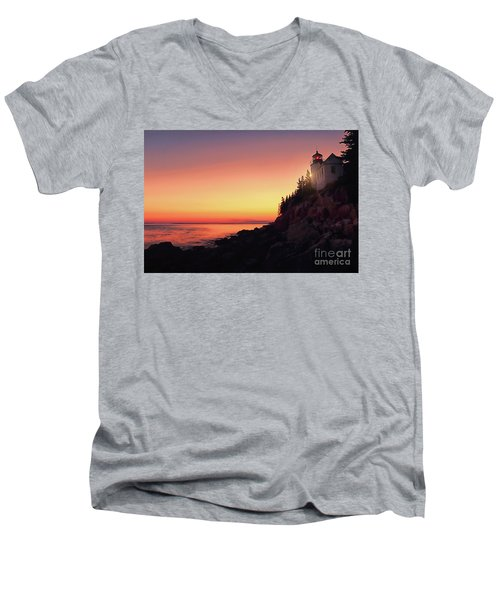 Beautiful Bass Harbor Lighthouse Men's V-Neck T-Shirt