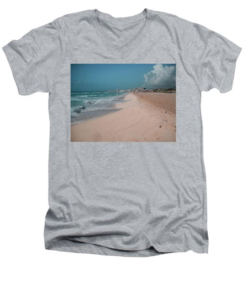 Beautiful Beach In Cancun, Mexico Men's V-Neck T-Shirt