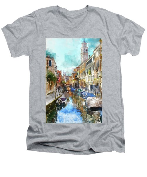 Beautiful Boats In Venice, Italy Men's V-Neck T-Shirt