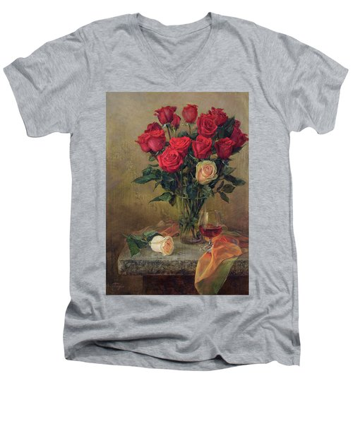 Beautiful Bouquet Of Roses Men's V-Neck T-Shirt