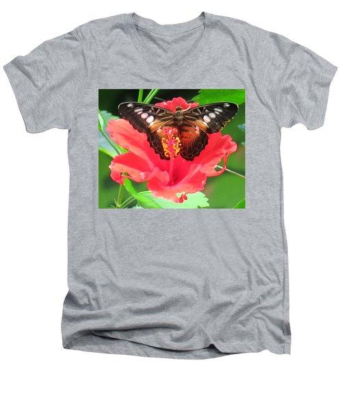 Beautiful Butterfly Men's V-Neck T-Shirt by Betty Buller Whitehead