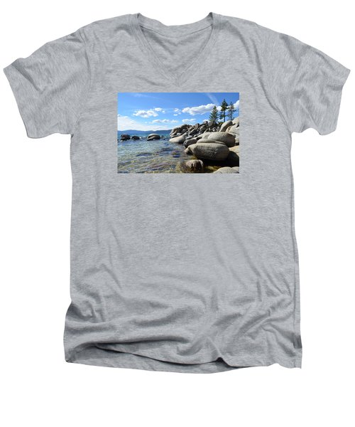 Men's V-Neck T-Shirt featuring the photograph Beautiful Day At Lake Tahoe by Alex King
